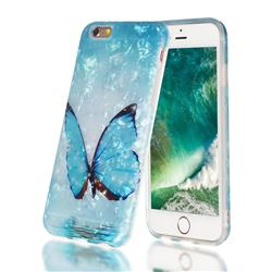 Sea Blue Butterfly Shell Pattern Clear Bumper Glossy Rubber Silicone Phone Case for iPhone 6s 6 6G(4.7 inch)