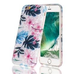 Flowers and Leaves Shell Pattern Clear Bumper Glossy Rubber Silicone Phone Case for iPhone 6s 6 6G(4.7 inch)