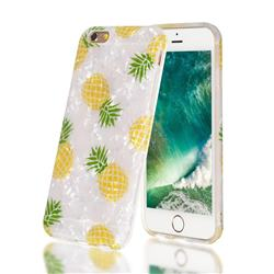 Yellow Pineapple Shell Pattern Clear Bumper Glossy Rubber Silicone Phone Case for iPhone 6s 6 6G(4.7 inch)