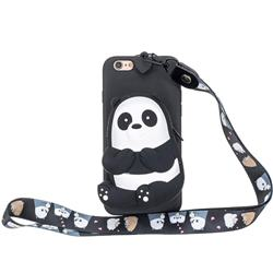 Cute Panda Neck Lanyard Zipper Wallet Silicone Case for iPhone 6s 6 6G(4.7 inch)