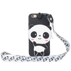 White Panda Neck Lanyard Zipper Wallet Silicone Case for iPhone 6s 6 6G(4.7 inch)