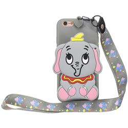 Gray Elephant Neck Lanyard Zipper Wallet Silicone Case for iPhone 6s 6 6G(4.7 inch)