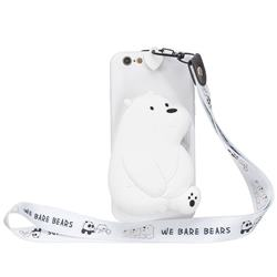 White Polar Bear Neck Lanyard Zipper Wallet Silicone Case for iPhone 6s 6 6G(4.7 inch)