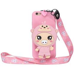 Pink Pig Neck Lanyard Zipper Wallet Silicone Case for iPhone 6s 6 6G(4.7 inch)
