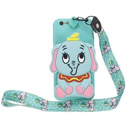 Blue Elephant Neck Lanyard Zipper Wallet Silicone Case for iPhone 6s 6 6G(4.7 inch)