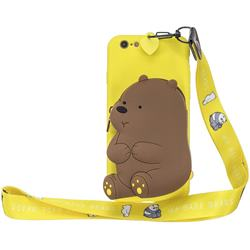 Yellow Bear Neck Lanyard Zipper Wallet Silicone Case for iPhone 6s 6 6G(4.7 inch)