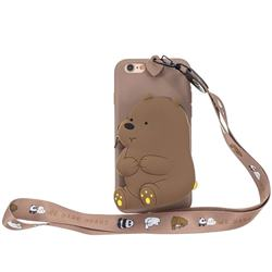 Brown Bear Neck Lanyard Zipper Wallet Silicone Case for iPhone 6s 6 6G(4.7 inch)