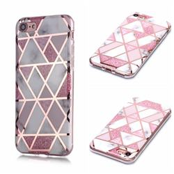Pink Rhombus Galvanized Rose Gold Marble Phone Back Cover for iPhone 6s 6 6G(4.7 inch)