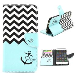 Wave Anchor Leather Wallet Case for iPhone 6 (4.7 inch)