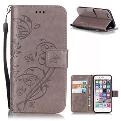 Embossing Butterfly Flower Leather Wallet Case for iPhone 6s / iPhone 6 (4.7 inch) - Grey