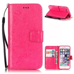 Embossing Butterfly Flower Leather Wallet Case for iPhone 6s / iPhone 6 (4.7 inch) - Rose