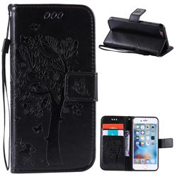 Embossing Butterfly Tree Leather Wallet Case for iPhone 6s 6 (4.7 inch) - Black