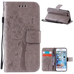 Embossing Butterfly Tree Leather Wallet Case for iPhone 6s 6 (4.7 inch) - Grey