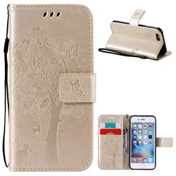Embossing Butterfly Tree Leather Wallet Case for iPhone 6s 6 (4.7 inch) - Champagne