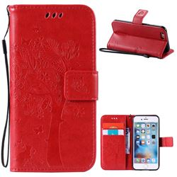 Embossing Butterfly Tree Leather Wallet Case for iPhone 6s 6 (4.7 inch) - Red