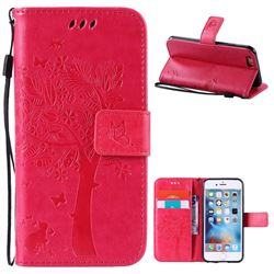 Embossing Butterfly Tree Leather Wallet Case for iPhone 6s 6 (4.7 inch) - Rose