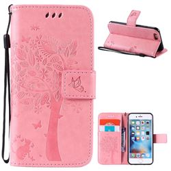 Embossing Butterfly Tree Leather Wallet Case for iPhone 6s 6 (4.7 inch) - Pink
