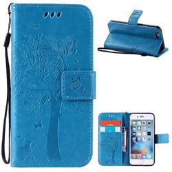 Embossing Butterfly Tree Leather Wallet Case for iPhone 6s 6 (4.7 inch) - Blue