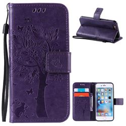Embossing Butterfly Tree Leather Wallet Case for iPhone 6s 6 (4.7 inch) - Purple