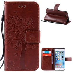Embossing Butterfly Tree Leather Wallet Case for iPhone 6s 6 (4.7 inch) - Brown