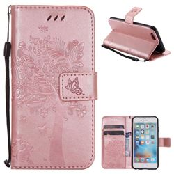 Embossing Butterfly Tree Leather Wallet Case for iPhone 6s 6 6G(4.7 inch) - Rose Pink
