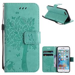 Embossing Butterfly Tree Leather Wallet Case for iPhone 6s 6 6G(4.7 inch) - Cyan