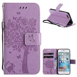 Embossing Butterfly Tree Leather Wallet Case for iPhone 6s 6 6G(4.7 inch) - Violet