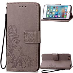 Embossing Imprint Four-Leaf Clover Leather Wallet Case for iPhone 6s 6 (4.7 inch) - Gray