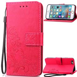 Embossing Imprint Four-Leaf Clover Leather Wallet Case for iPhone 6s 6 (4.7 inch) - Rose