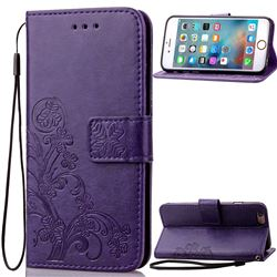 Embossing Imprint Four-Leaf Clover Leather Wallet Case for iPhone 6s 6 (4.7 inch) - Purple
