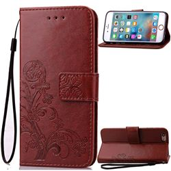 Embossing Imprint Four-Leaf Clover Leather Wallet Case for iPhone 6s 6 (4.7 inch) - Brown