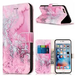 Pink Seawater PU Leather Wallet Case for iPhone 6s 6 (4.7 inch)