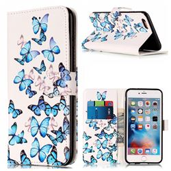 Blue Vivid Butterflies PU Leather Wallet Case for iPhone 6s 6 (4.7 inch)