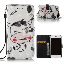 Milk Cow 3D Painted Leather Wallet Case for iPhone 6s 6 6G(4.7 inch)