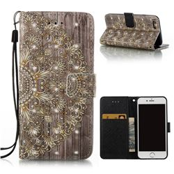 Golden Flower 3D Painted Leather Wallet Case for iPhone 6s 6 6G(4.7 inch)