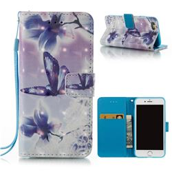 Butterfly Flower 3D Painted Leather Wallet Case for iPhone 6s 6 6G(4.7 inch)