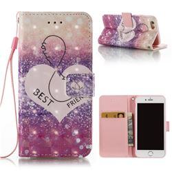 Heart Friend 3D Painted Leather Wallet Case for iPhone 6s 6 6G(4.7 inch)