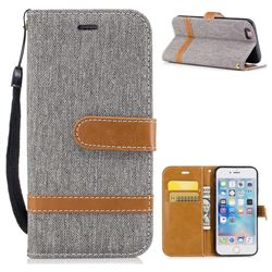 Jeans Cowboy Denim Leather Wallet Case for iPhone 6s 6 6G(4.7 inch) - Gray