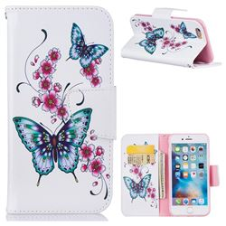 Peach Butterflies Leather Wallet Case for iPhone 6s 6 6G(4.7 inch)