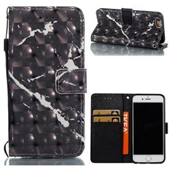 Black Marble 3D Painted Leather Wallet Case for iPhone 6s 6 6G(4.7 inch)