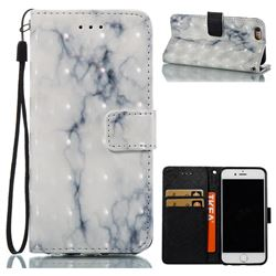 White Gray Marble 3D Painted Leather Wallet Case for iPhone 6s 6 6G(4.7 inch)