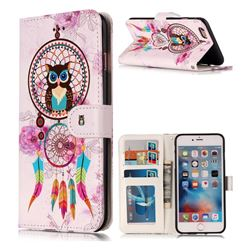Wind Chimes Owl 3D Relief Oil PU Leather Wallet Case for iPhone 6s 6 6G(4.7 inch)