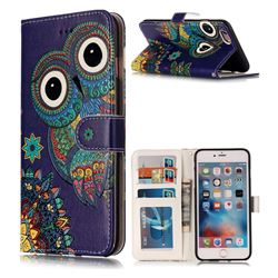 Folk Owl 3D Relief Oil PU Leather Wallet Case for iPhone 6s 6 6G(4.7 inch)