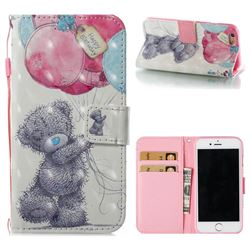 Gray Bear 3D Painted Leather Wallet Case for iPhone 6s 6 6G(4.7 inch)