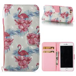 Flamingo and Azaleas 3D Painted Leather Wallet Case for iPhone 6s 6 6G(4.7 inch)