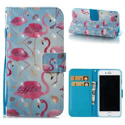 Foraging Flamingo 3D Painted Leather Wallet Case for iPhone 6s 6 6G(4.7 inch)