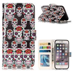 Flower Skull 3D Relief Oil PU Leather Wallet Case for iPhone 6s 6 6G(4.7 inch)