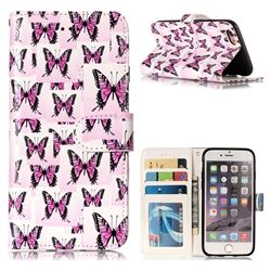 Butterflies Stickers 3D Relief Oil PU Leather Wallet Case for iPhone 6s 6 6G(4.7 inch)
