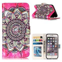 Rose Mandala 3D Relief Oil PU Leather Wallet Case for iPhone 6s 6 6G(4.7 inch)