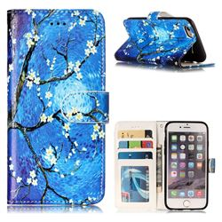 Plum Blossom 3D Relief Oil PU Leather Wallet Case for iPhone 6s 6 6G(4.7 inch)